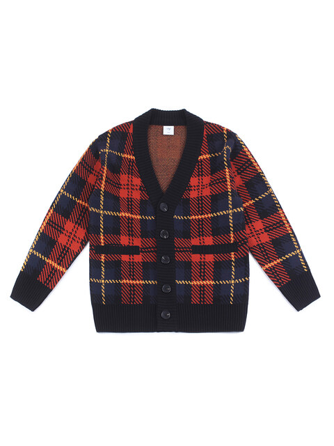 OVERSIZE CHECK CARDIGAN (RED-NAVY)