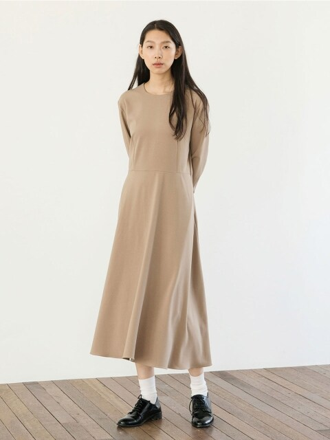Light Flared Dress - Beige