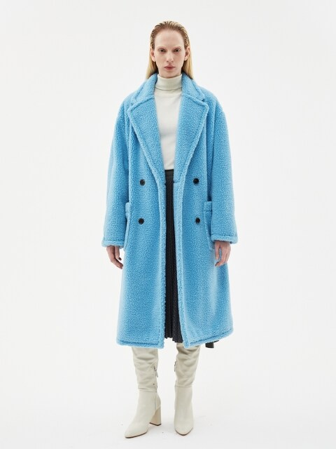 TEDDY BEAR WOOL DOUBLE COAT awa174w(SkyBlue)
