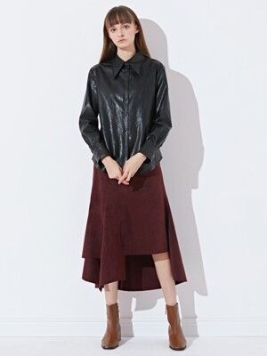 LONG COLLAR SHIRTS_FAKE LEATHER