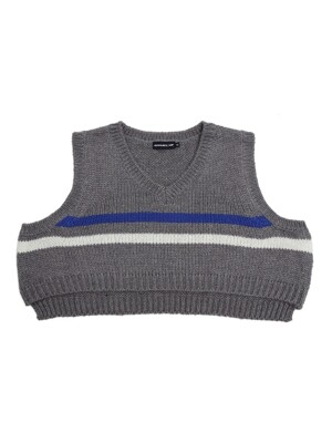 UNISEX STRIPE CROP KNIT VEST GRAY
