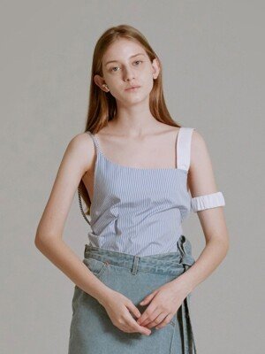 SLEEVELESS RUCHED STRAP TOP (SKY BLUE STRIPE)