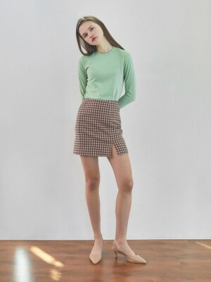 19spring front slit mini skirt pink