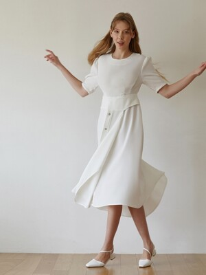 LAYERED BUTTON DRESS - WHITE