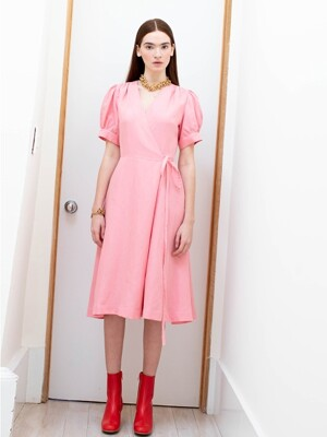 PARK SLOPE short sleeve wrap dress (Coral pink)