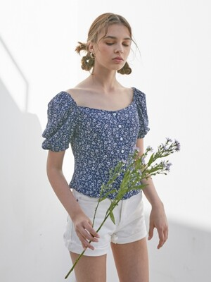 FLORAL PUFF SLEEVES BLOUSE_NAVY
