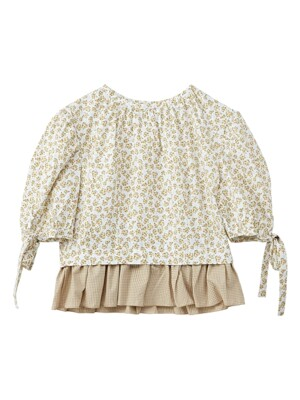 Flower back button blouse - Yellow