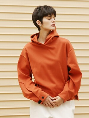 Cuffs  button hoodie sweatshirt_Orange