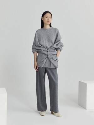 OVERSIZED BUTTONED SWEATER (GREY)