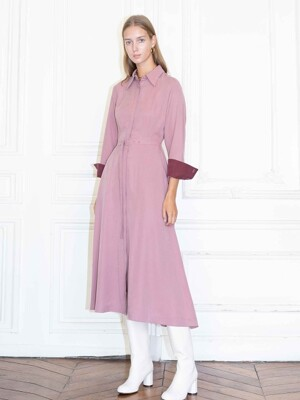 NEW YORK long sleeve shirt dress_Indie pink & Burgundy
