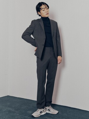 Slim-fit Italian Stretch-Wool Suit Jacket + Straight Trousers SET