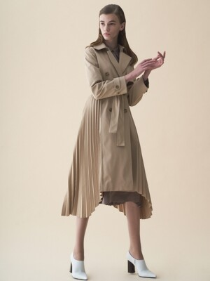 TRENCH PLEATS COAT_BEIGE