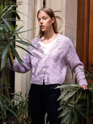 Hand-embroidered Wool Cardigan_Lavender
