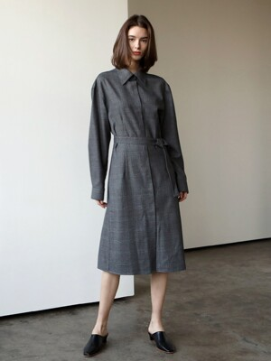 Belt check shirt dress_Charcoal