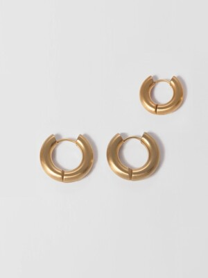 [1+1] SMALL BOLD HOOP EARRING SET