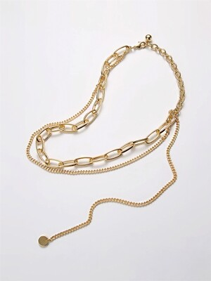 tough chunky chain layered necklace