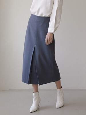 comos'282 front pleats H-line skirt (dusty blue)
