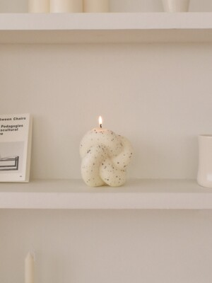 Tube Knot Candle No.2 - dark gray dot