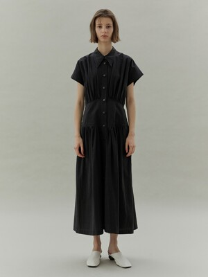 20SS WAIST SHIRRING DRESS - BLACK