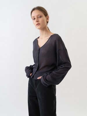 SHEER CARDIGANS WOMEN [CHARCOAL GRAY]