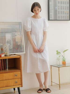 STRIPE PUFF SLEEVE ONE-PIECE_WHITE