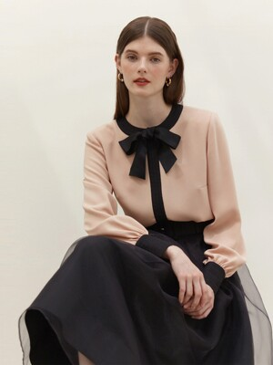 LILIANE Ribbon blouse (Light peach pink&Black)