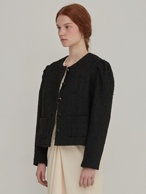Voluminous tweed crop jacket - Black