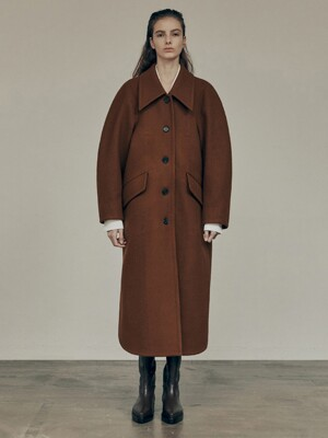 20FW LOW COLLAR COAT - BROWN