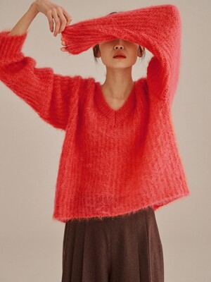 CORAL MOHAIR BLEND CHUNKY KNIT TOP