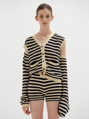 SIEN Textured Cardigan - Beige/Navy Stripe