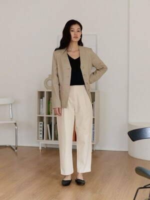 No-Collar Linen Jacket_Natural