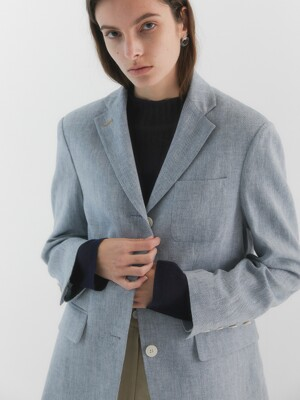 Andersson Herringbone Linen Jacket_Light Blue
