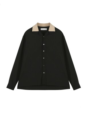ORDINARY POINT COLLAR HAWAIAN BLACK SHIRT