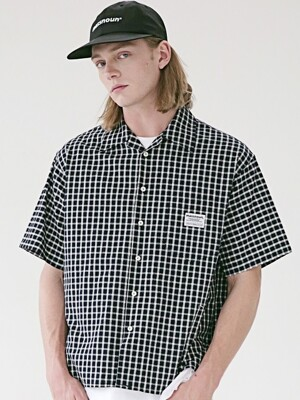 SL LOGO BASIC MD CHECK SHIRTS MSEST008-NV