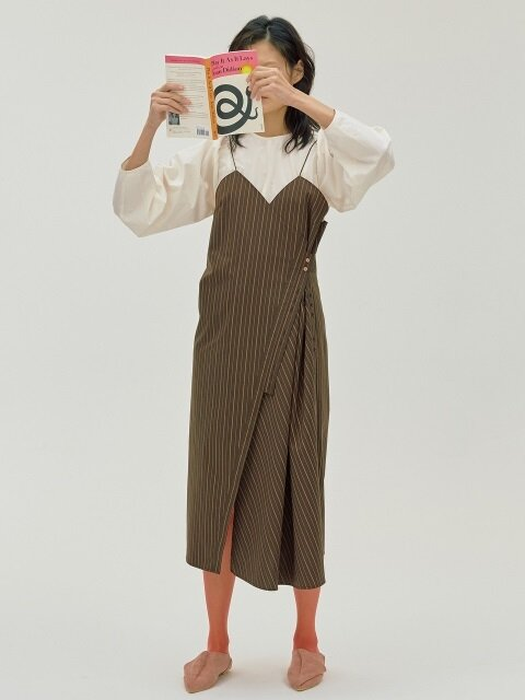 Button Stripe Dress_Brown