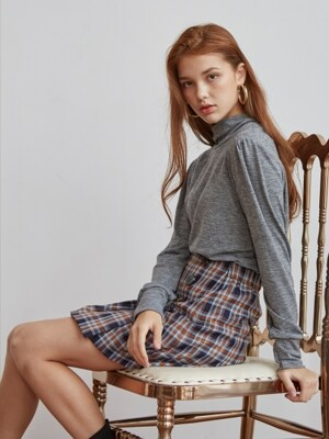 PLEATS CHECK MINI SKIRT