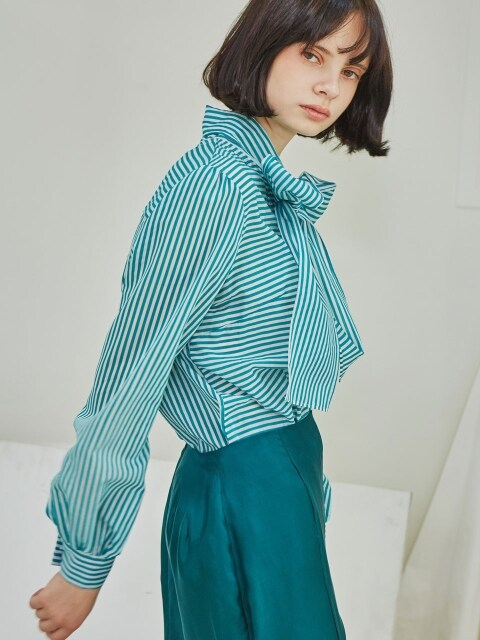Stripe Ribbon Blouse_Green