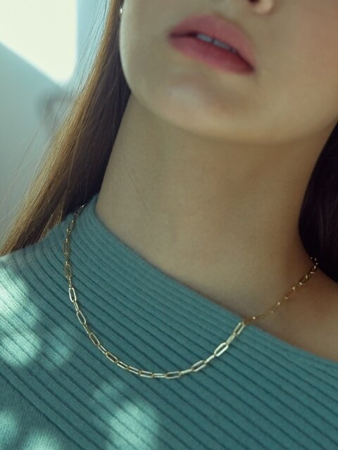 OVAL CHAIN NECKLACE (GOLD)