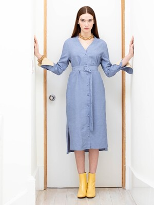 OSLO oversized V neck dress (Corn flower blue&Butter)
