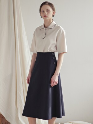 SIDE BUTTON SKIRT_NAVY