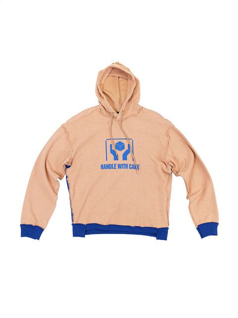 Beige/Blue  'Handle With Care' Inside-Out Hoodie (Genderless)