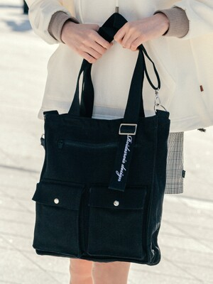 EXACTLY TWO POCKET CROSS BAG (BLACK)