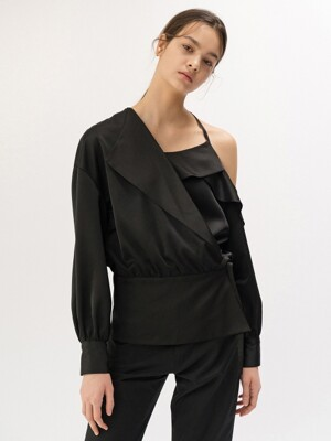 19FW ASYMMETRIC RUFFLE-TRIMMED BLOUSE (BLACK)