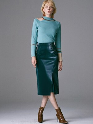 SIDE POCKET FAKE LEATHER SKIRT_BLUISH GREEN