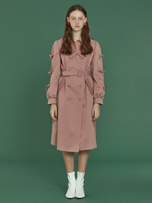 Ribbon Trench Coat _ Pink