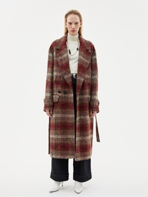 MATTIA MILITARY ROBE COAT awa193u(RED CHECK)