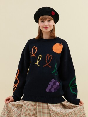 FRUIT HEAVY KNIT_navy