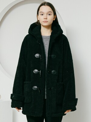Lambs Wool Duffle Coat [Black]