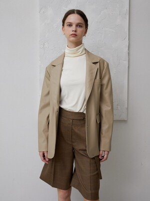 button-back vegan leather jacket_beige