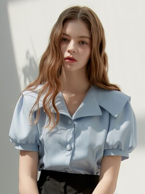 [By Joorti] J414 shayla collar short sleeve blouse (skyblue)